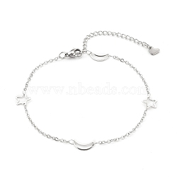 304 Stainless Steel Cable Chain Anklets, with  Moon & Star Link and Lobster Claw Clasps, Stainless Steel Color, 8-7/8 inches(22.5cm)(X-AJEW-H104-05P)