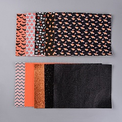 Halloween Theme Imitation Leather Fabric Sheet Set, for Garment Accessories, Mixed Color, 21x16x0.05cm, 10sheets/set(DIY-D025-A)
