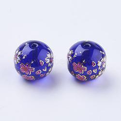 fleur photo perles de verre imprimé, arrondir, bleu royal, 12x11 mm, trou: 1.5 mm(GLAA-E399-12mm-E03)