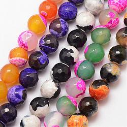 Natural Fire Agate Bead Strands, Round, Grade A, Faceted, Dyed & Heated, Mixed Color, 10mm, Hole: 1mm; about 37pcs/strand, 15inches