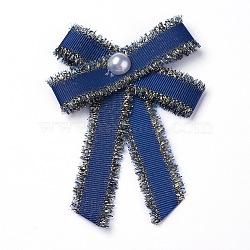 Брошь из полиэстера, со стеклянными жемчужинами и железными находками, бантом, темно-синие, 95~100x67~72 мм(JEWB-I011-01A)