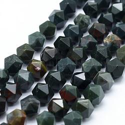 """Chapelets de perles en pierre de sang naturelle, étoiles coupées perles rondes, facette, 8~8.5mm, trou: 1mm; environ 48~50 pcs/chapelet, 14.9~15.1"""" (38~38.5 cm)(G-F523-16-8mm)"""