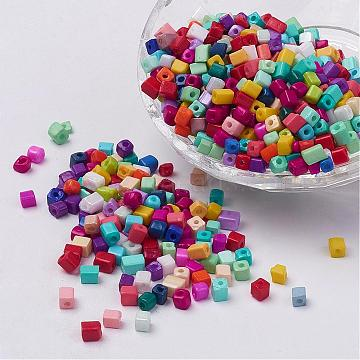 Cube Opaque Colours Glass Seed Beads, Round Hole, Mixed Color, 3~7x3~4x3~4mm, Hole: 0.5mm, about 500pcs/50g(X-SEED-R026-A19)