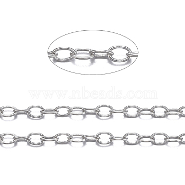 Brass Cable Chains, Soldered, Oval, Cadmium Free & Lead Free, Long-Lasting Plated, Platinum, 2x1.5x0.5mm(X-CHC-034Y-P)
