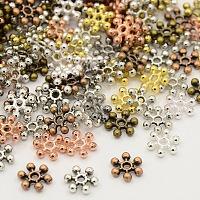 Perles d'espacement de flocon de neige en argent tibétain mixte, couleur mixte, 8.5x2.5mm, Trou: 1.5mm