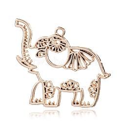 alliage pendentifs éléphant, plaqué longue durée, or, 42x49x2.5 mm, trou: 2.5 mm(PALLOY-E394-06G-AAA)