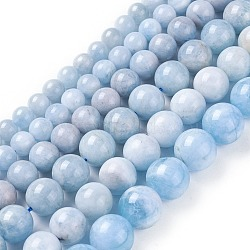 """Chapelets de perles en aigue-marine naturelle, rond, 8~14mm, trou: 1mm; environ 28~59 pcs/chapelet, 15.3~16.1"""" (39~41 cm)); environ 12~14 strands / 1000g(G-F641-03)"""