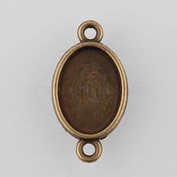 настройки разъема кабошон из античного бронзового сплава в тибетском стиле, двухсторонний лоток, овальный, никель свободный, лоток: 14x10 мм; 24x13x3 мм, отверстия: 1.5 mm(X-TIBE-M022-04AB-NF)