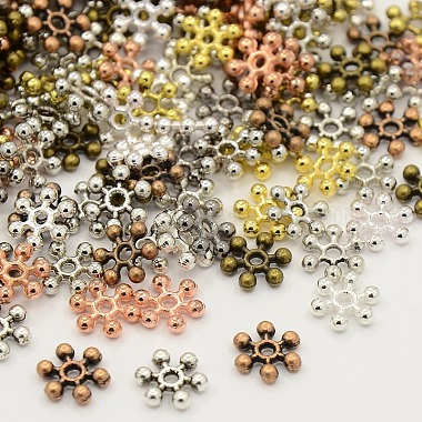 Mixed Color Snowflake Alloy Spacer Beads