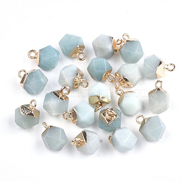 Electroplate Natural Amazonite Charms, with Iron Findings, Faceted, Golden, 11~12x8x8mm, Hole: 1.5mm(X-G-S344-08F)