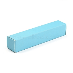 Foldable Kraft Paper Box, for Bracelet Necklace Jewelry Gift Packaging, Rectangle, Sky Blue, 16.2x4x0.15cm(X-CON-K008-A-01)