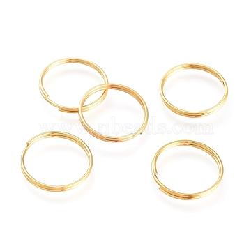 304 Stainless Steel Split Rings, Golden, 1.8x15x1.2mm(X-STAS-M236-01)