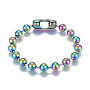 "304 Stainless Steel Ball Chain Bracelets, Tag Chain, Multi-color, 8-1/4""(20.8cm)"