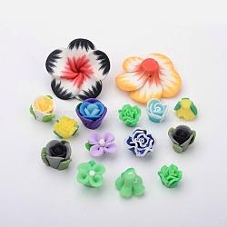 Cabochons en pâte polymère manuels, fleur, couleur mixte, 11~35x8~12mm(CLAY-O001-02)
