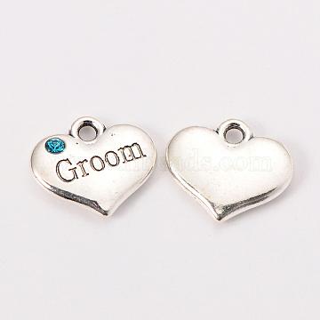 Wedding Theme Antique Silver Tone Tibetan Style Alloy Heart with Groom Rhinestone Charms, Cadmium Free & Lead Free, Aquamarine, 14x16x3mm, Hole: 2mm(X-TIBEP-N005-20D)