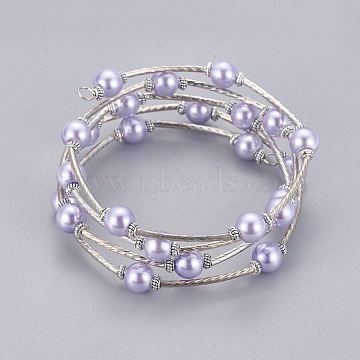 Fashion Wrap Bracelets, Glass Pearl Bracelets with Tube Beads, Lavender, Bracelet: about 60mm inner diameter(X-J-JB00041-06)