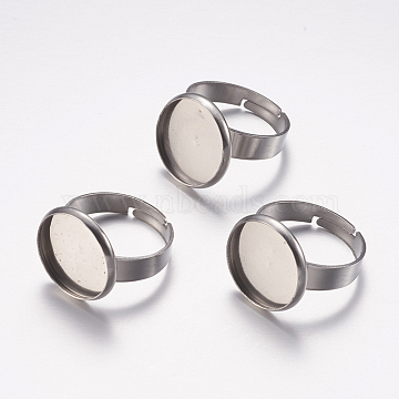 Adjustable 304 Stainless Steel Finger Rings Components, Pad Ring Base Findings, Flat Round, Stainless Steel Color, Tray: 14mm; 17mm(X-STAS-F149-18P-D)