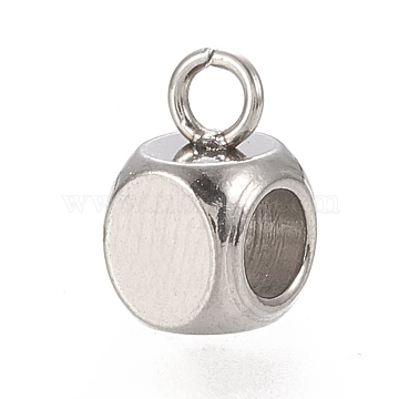 Vacuum Plating 304 Stainless Steel Hanger Links, Cube Bail Beads, Stainless Steel Color, 7.5x5x5mm, Hole: 1.6mm(STAS-K202-01A-P)