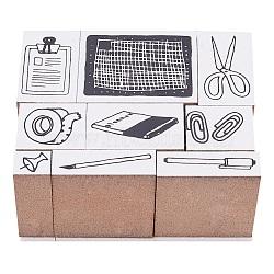 Bois et tampons en caoutchouc, timbres de journal de bricolage, 10~34x8~27x35 mm; environ 9 pcs / set(TOOL-WH0091-01)