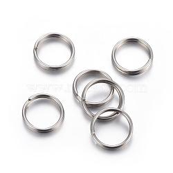 304 bagues fendues en acier inoxydable, couleur inox, 8x1.3 mm; diamètre intérieur: 6.5 mm(STAS-P223-22P-04)
