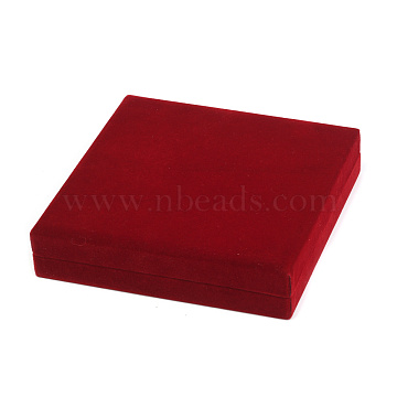 Velvet Necklace Boxes, Jewelry Boxes, with Plastic, Rectangle, FireBrick, 158x154x33mm(VBOX-G003-01A)