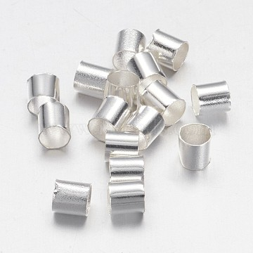 Brass Crimp Beads, Tube, Cadmium Free & Nickel Free & Lead Free, Silver Color Plated, 3x3mm, Hole: 2.5mm(KK-L017-S)
