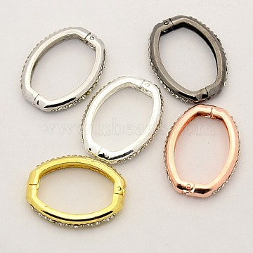 Shortener Clasps, Brass Crystal Rhinestone Twister Clasps, Oval Ring Clasps, Mixed Color, 26x21x4mm(X-KK-M004-05)