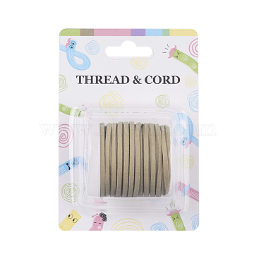 Flat Faux Suede Cord, Faux Suede Lace, Light Khaki, 3x1.5mm, about 5.46 yards(5m)/roll(X-LW-R003-16)