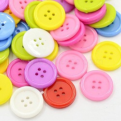 Акриловые швейные пуговицы , пластиковые пуговицы для одежды , 4-луночное, окрашенные, плоско-круглые, разноцветные, 20x2.5 мм, отверстие : 1 мм(X-BUTT-E076-F-M)