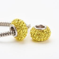 Perles européennes en cristal autrichien, Perles avec un grand trou   , le noyau en argent 925, rondelle, 249 _citrine, 11~12x7.5mm, Trou: 4.5mm(STER-E049-E27)
