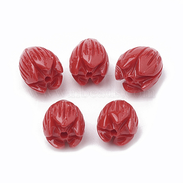 Dyed Synthetic Coral Beads, Jasmine Flower, Red, 8~8.5x6.5~7mm, Hole: 1mm(CORA-N002-B-04E)