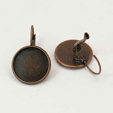 Red Copper Color Brass Leverback Earring Findings, Lead Free and Cadmium Free, 25x18mm; Tray: 16mm(X-KK-C1244-16mm-R-NR)