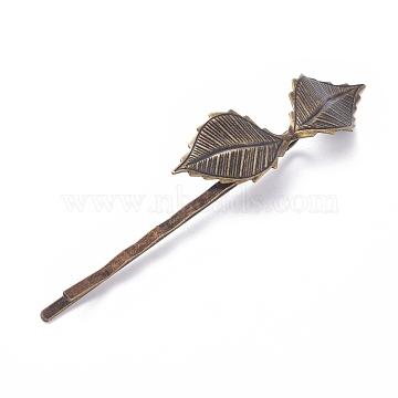 Épingles à cheveux en fer, avec les accessoires en laiton, feuille, sans nickel, bronze antique, 72x4.5 mm; feuille: 42x14 mm(IFIN-L035-04AB-NF)