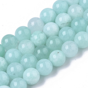 Natural Chalcedony Beads Strands, Dyed & Heated, Imitation Amazonite Color, Round, Pale Turquoise, 8.5x8mm, Hole: 1mm; about 47pcs/strand, 15.35 inches(G-T129-04)