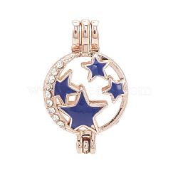 Pendentifs médaillon en alliage, diffuseur locket, avec strass et émail, creux, plat et circulaire avec étoile, cristal, bleu, or rose, 28x18x9.5mm, trou: 3.5x2.5 mm; mesure intérieure: 16 mm(X-PALLOY-S062-60RG-A)