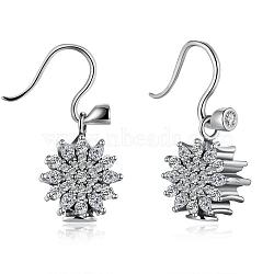 925 boucles d'oreilles en argent sterling, Pendants d'oreilles, pendentifs européens avec zircons et flocons de neige, Noël, argent antique, 17x13 mm(EJEW-BB17736)