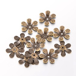 Antique Bronze Iron Flower Bead Caps, Nickel Free, 16x2mm, Hole: 1.5mm; about 39pcs/10g