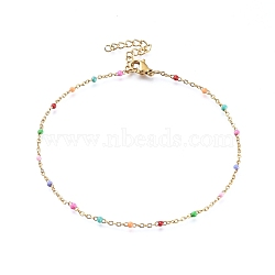 304 Stainless Steel Cable Chain Anklets, with Enamel Links, Golden, Colorful, 9 inches(23cm), 1.5~2mm(X-AJEW-H010-01I)