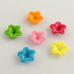 Opaque Acrylic Flower Bead Caps, 5-Petal, Mixed Color, 18x5mm, Hole: 1.5mm(X-SACR-Q099-M53)