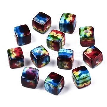 Printed Acrylic Beads, Cube, Colorful, Geometric Pattern, 12.5x12.5x12.5mm, Hole: 3.5mm(SACR-S305-15)