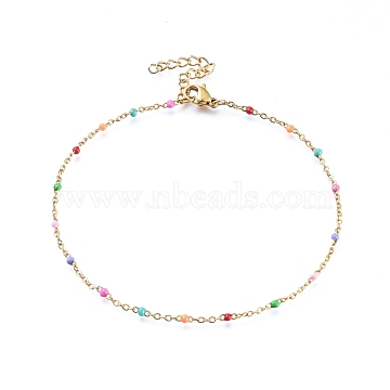 304 Stainless Steel Cable Chain Anklets, with Enamel Links, Golden, Colorful, 9inches(23cm); 1.5~2mm(X-AJEW-H010-01I)