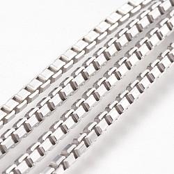 925 chaîne de boîte en argent sterling galvanisée, platine, 1.8x2x2mm(STER-I015-05B)