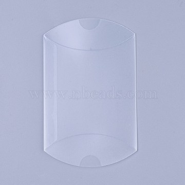 PVC Plastic Frosted Pillow Boxes, Gift Candy Transparent Packing Box, Clear, 9x6.45x2.6cm(X-CON-WH0068-25)