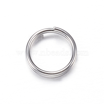 304 Stainless Steel Split Rings, Stainless Steel Color, 6x1mm, about 5mm inner diameter(X-STAS-P092-03)