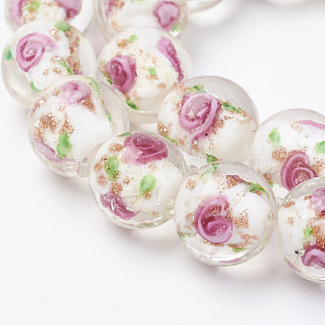 Handmade Gold Sand Lampwork Beads Strands, Inner Flower, Round, White, 12.5~13.5mm, Hole: 1.5mm; about 28pcs/strand, 14.88 inches(37.8cm)(X-LAMP-E015-02D)