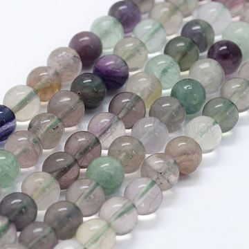 Natural Fluorite Beads Strands, Round, 8mm, Hole: 1.2mm, about 49pcs/strand, 15.35 inches(39cm)(X-G-E484-01)