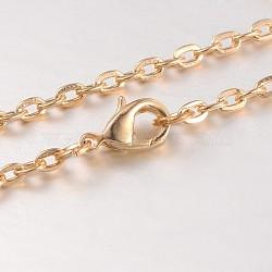 """Fer chaîne du câble étoffe collier, avec des agrafes en alliage pince de homard et chaînes embouts de fer, couleur or et de lumière, 30.3""""(MAK-J004-28KCG)"""