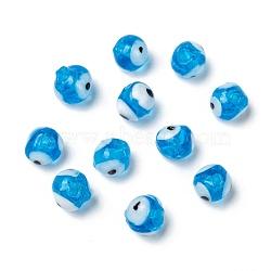 Handmade Lampwork Beads, Evil Eye, Sky Blue, 8mm, Hole: 2mm(X-DT250J-7)