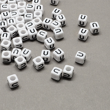 Large Hole Acrylic Letter European Beads, White & Black, Cube with Letter.U, 6x6x6mm, Hole: 4mm(X-SACR-Q103-6mm-01U)