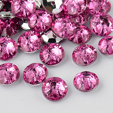 2-Hole Taiwan Acrylic Rhinestone Flat Round Buttons, Faceted & Silver Plated Pointed Back, Camellia, 10x4mm, Hole: 1mm(BUTT-F015-10mm-08)